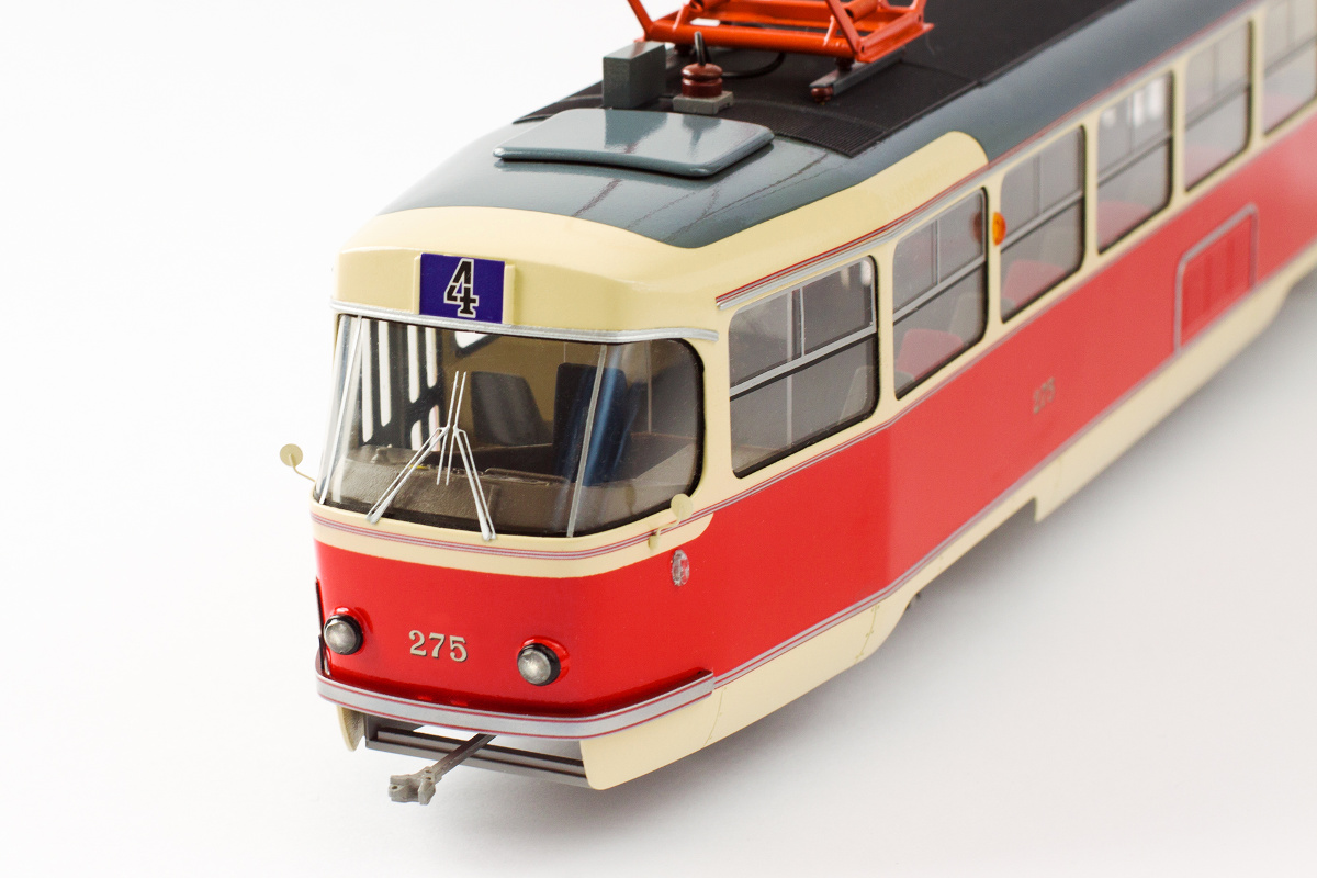 Tatra T3 historic model in Bratislava color scheme